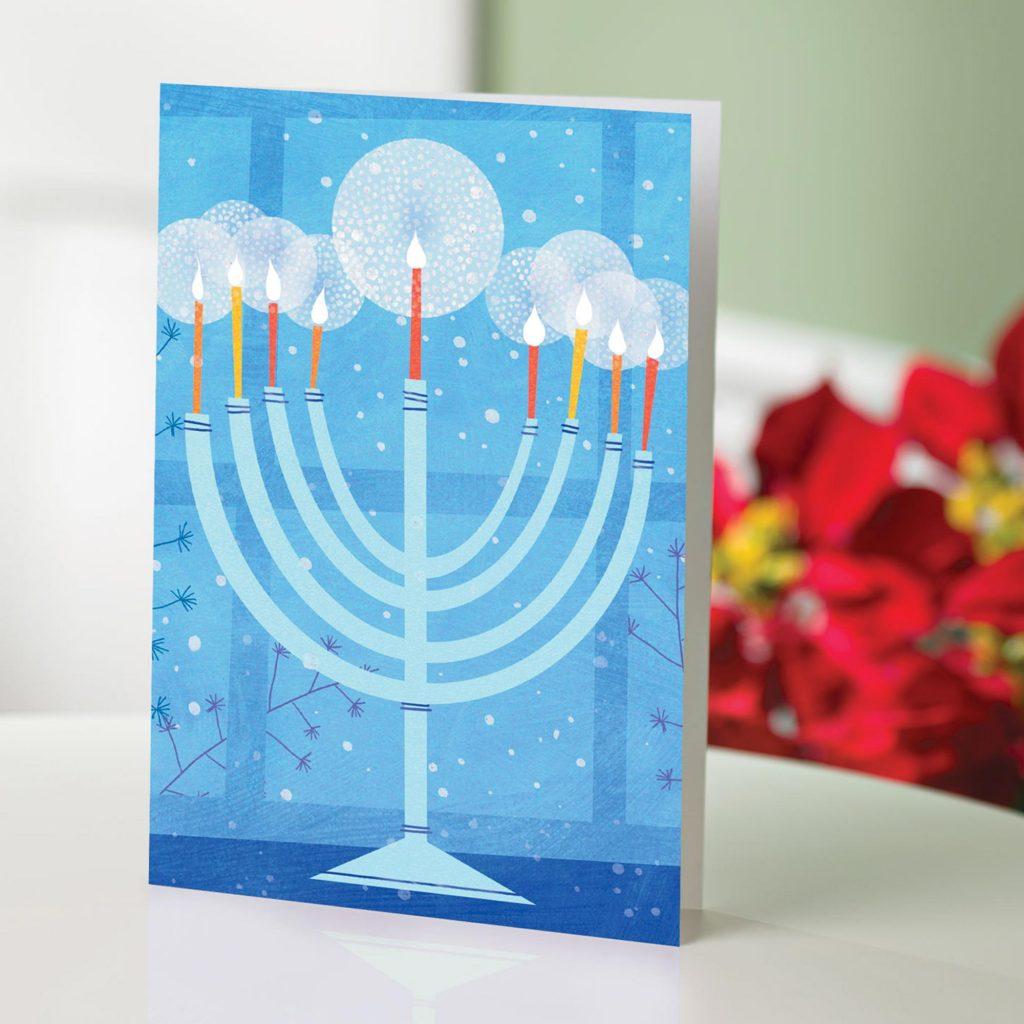 Menorah Set of 12 UNICEF Cards, 'Menorah' perfect greeting card Hannukkah Chanuka Hanukkah