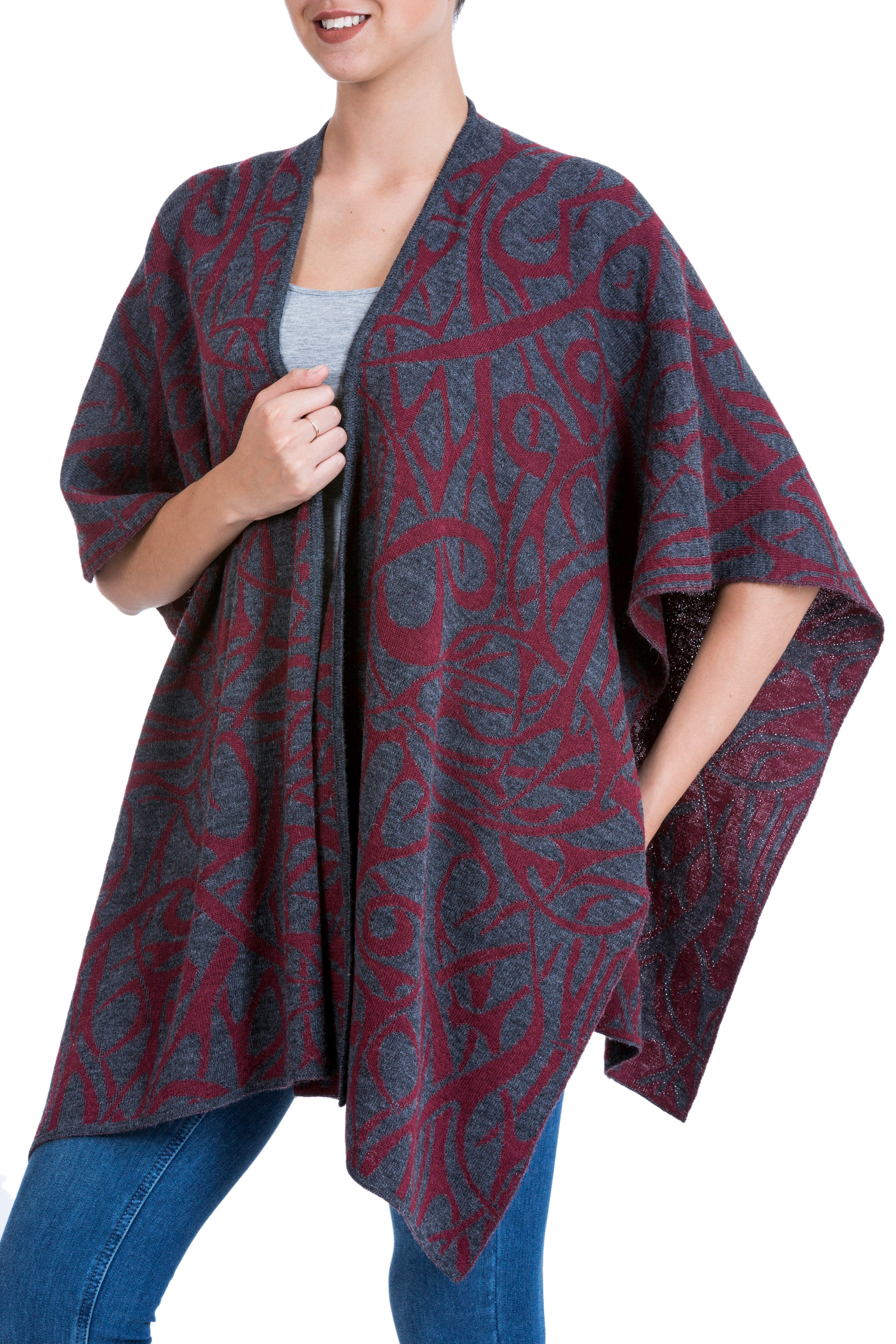 fall apparel, wraps, ruanas wraps and ruanas Fair Trade Alpaca Blend Andean Reversible Ruana Cape with Ab, 'Arabesque Abstractions'