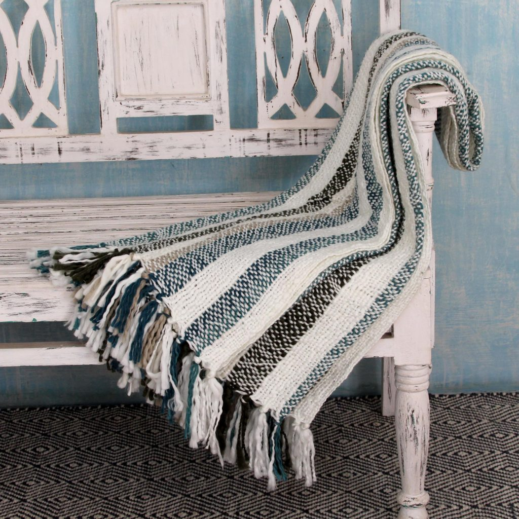 alpaca wool throw Indian Striped Throw Blanket, 'Teal Kiss' throw blankets and pillows