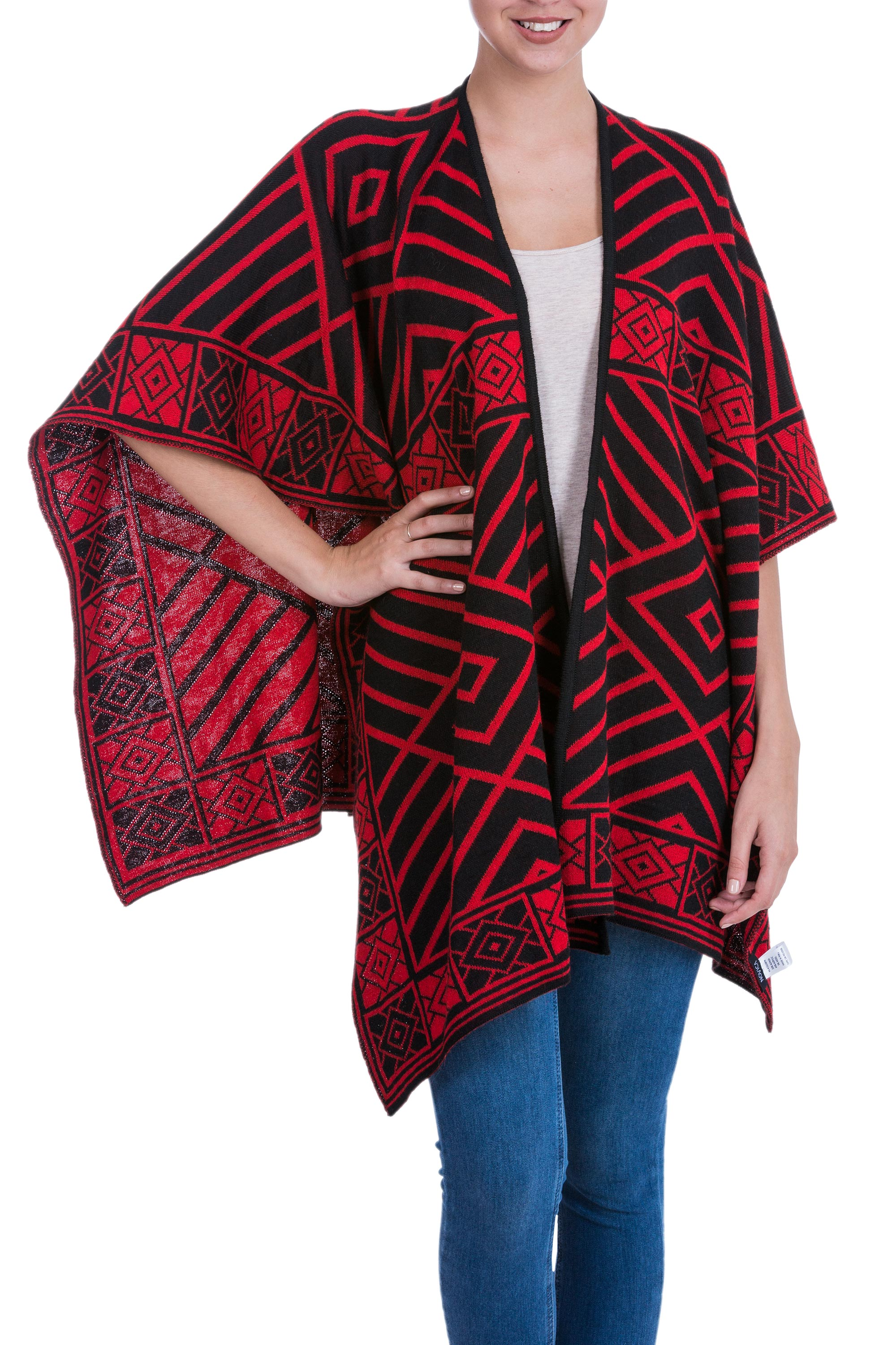 ruanas, women fashion Reversible Alpaca Blend Andean Red and Black Ruana Cloak, 'Inca Ruby' wraps and ruanas