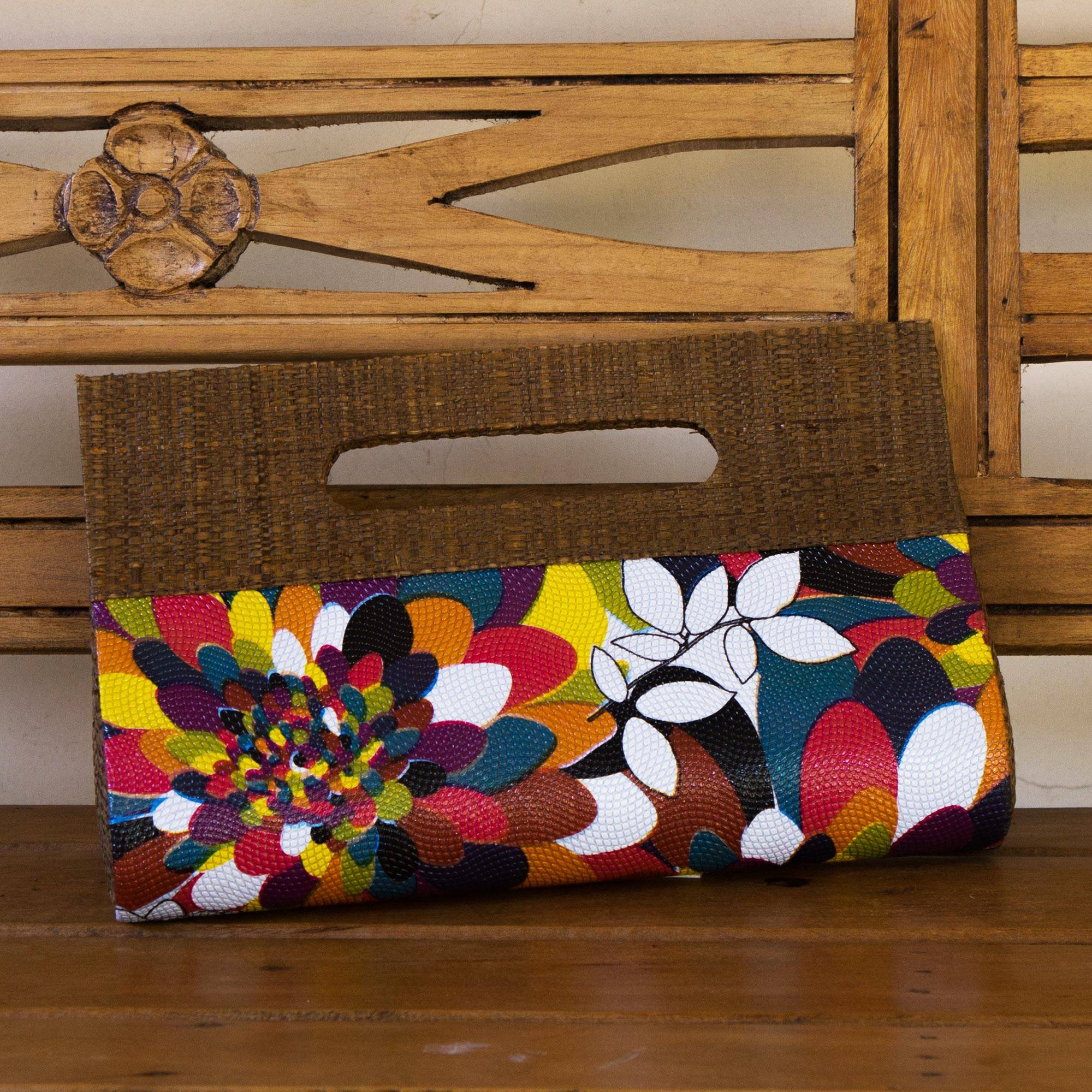 Colorful Handcrafted Palm Leaf Handbag from Brazil, 'Psychedelic Jungle'