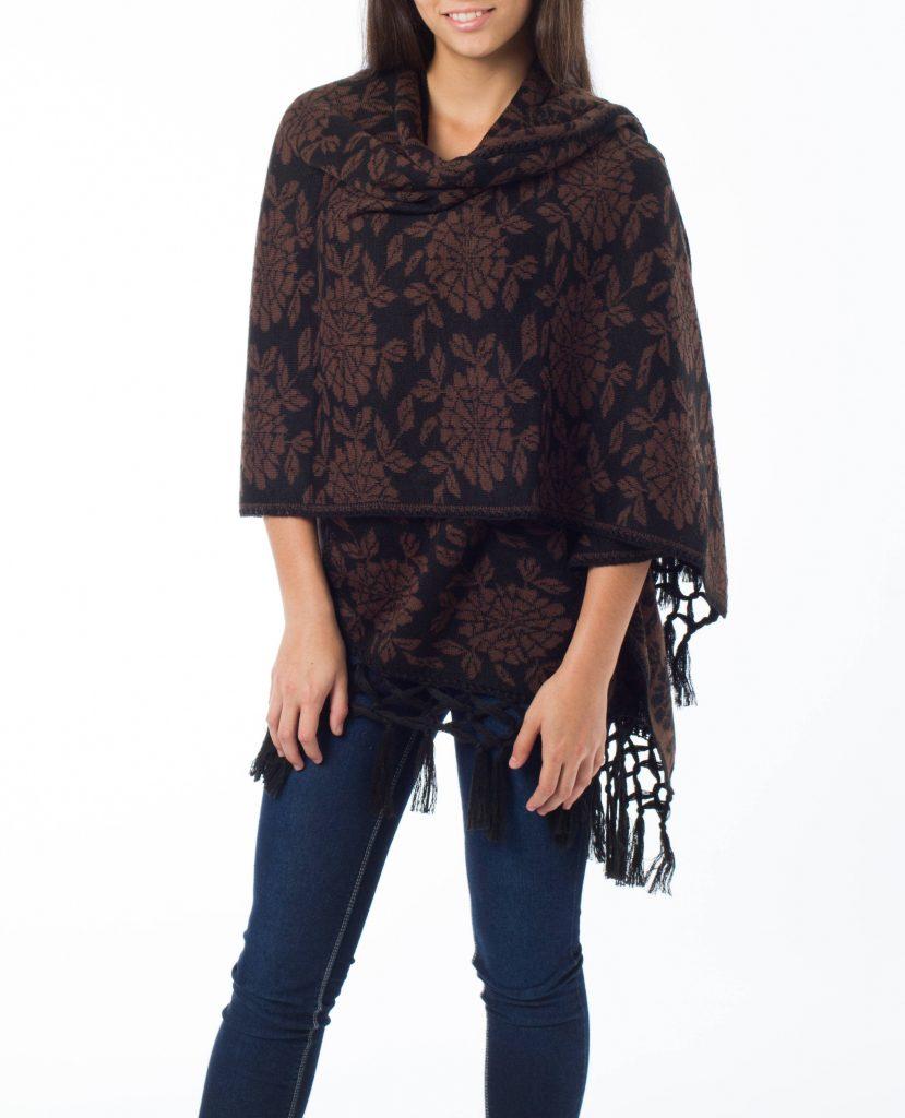 Fair Trade Alpaca Wool Blend Shawl from Peru, 'Harvest Moon' Black Brown