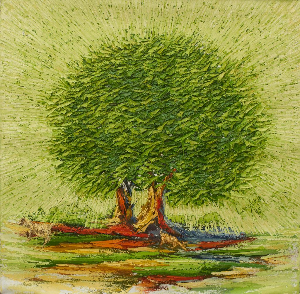 African Tree and Goat Oil Painting on Unstretched Canvas, 'Greener Pasture' Selecting the Perfect Painting for your Home