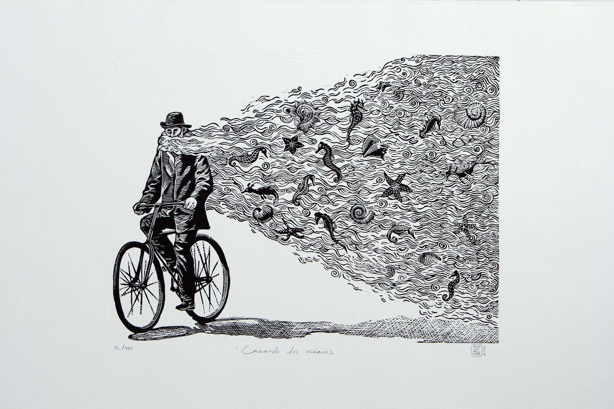 Surrealist Etched Print of a Man and Sea Life from Mexico, 'Creating the Oceans' Selecting the Perfect Painting for your Home