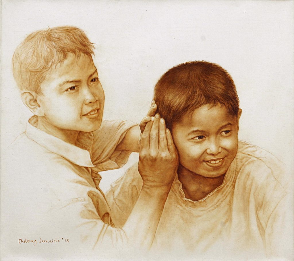 Original Oil Portrait of Two Mischievous Boys from Bali, 'Filter' Selecting the Perfect Painting for your Home