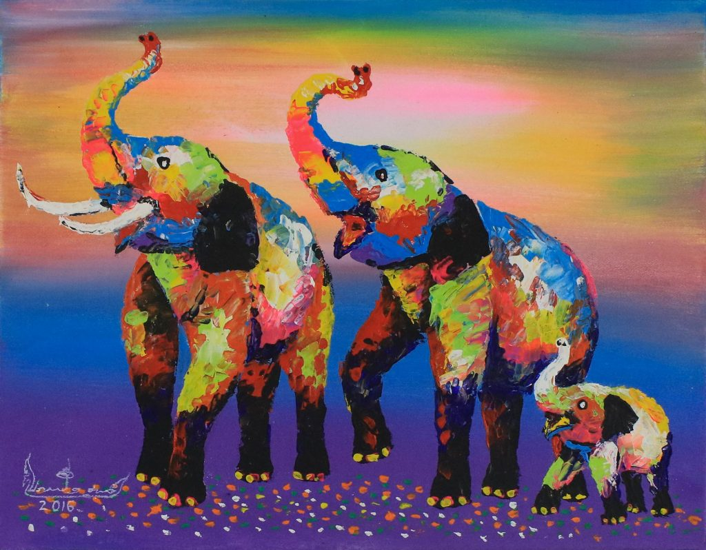 Signed Expressionist Painting of Colorful Elephants, 'Family Colorful' Selecting the Perfect Painting for your Home