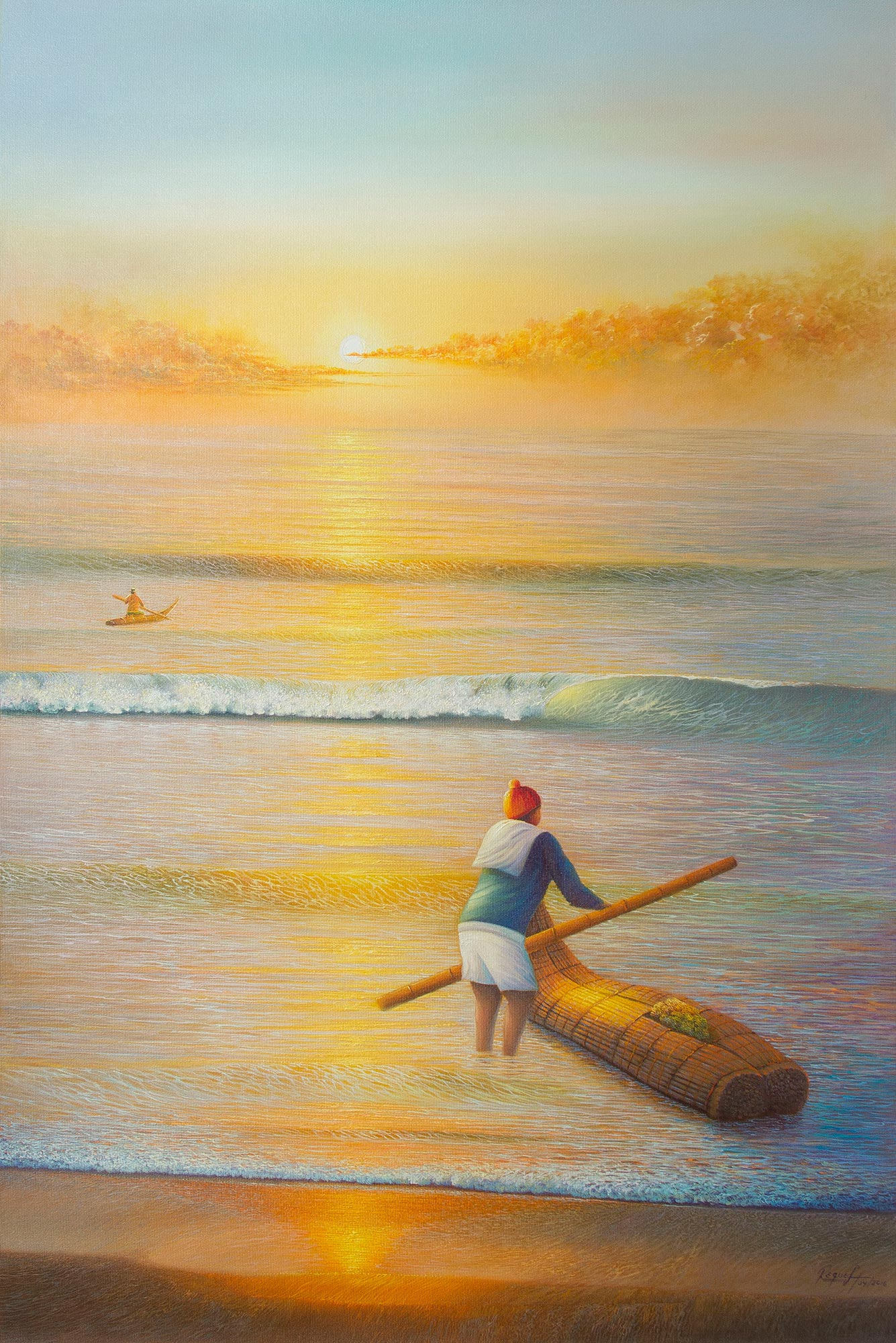 Realist Painting of Fishermen and the Sea from Peru, 'Sunset Poem' Selecting the Perfect Painting for your Home