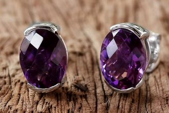 'Precious Plum' Amethyst and Sterling Silver Stud Earrings from Thailand Earring and Necklace Pairings