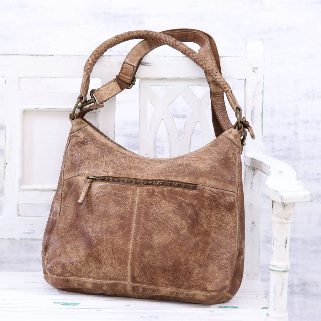 Sepia Style Brown Leather Shoulder or Sling Bag from India revamp your wardrobe