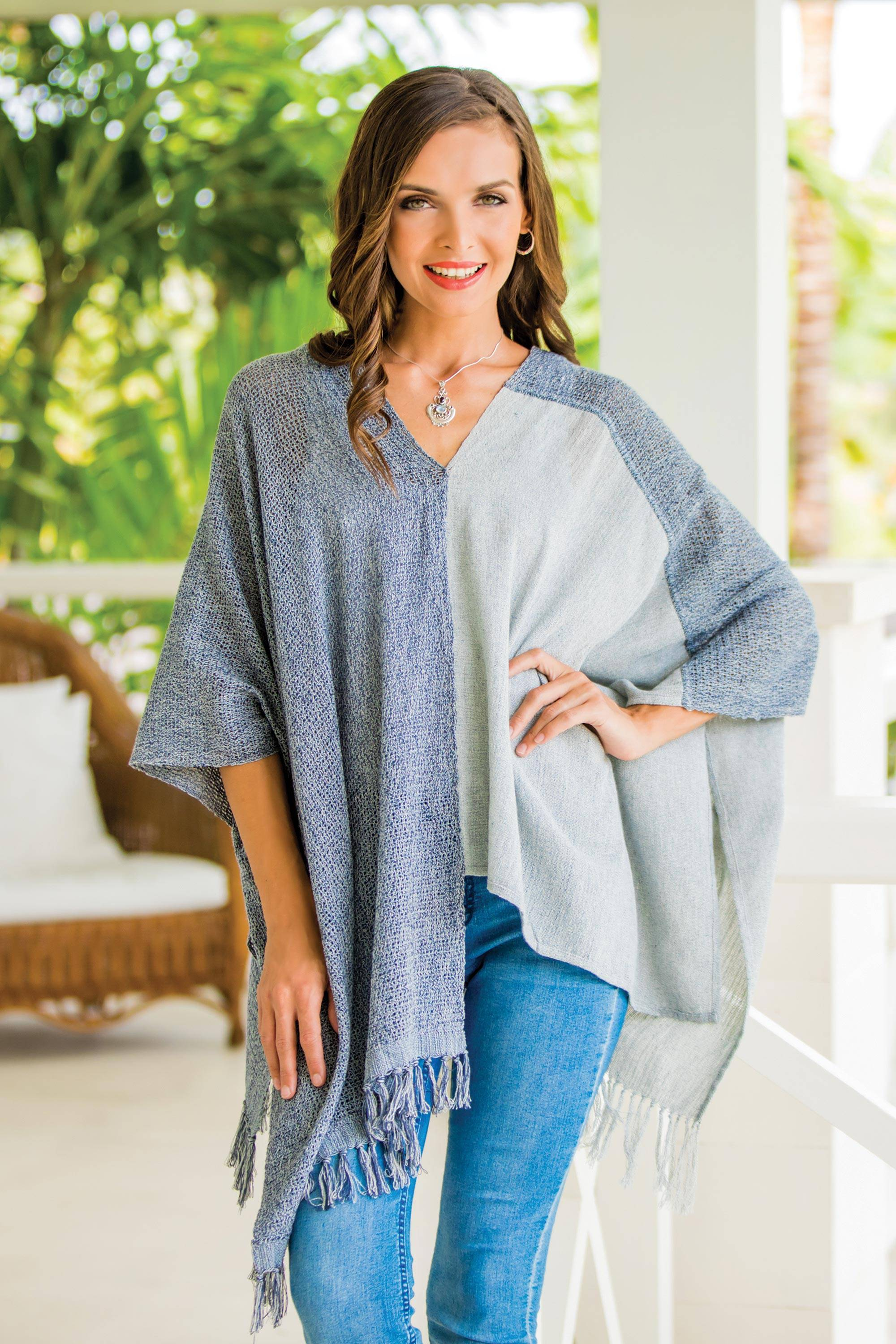 Textures of Guatemala Guatemalan Handwoven Natural and Recycled Cotton Poncho Revamp Your Wardrobe