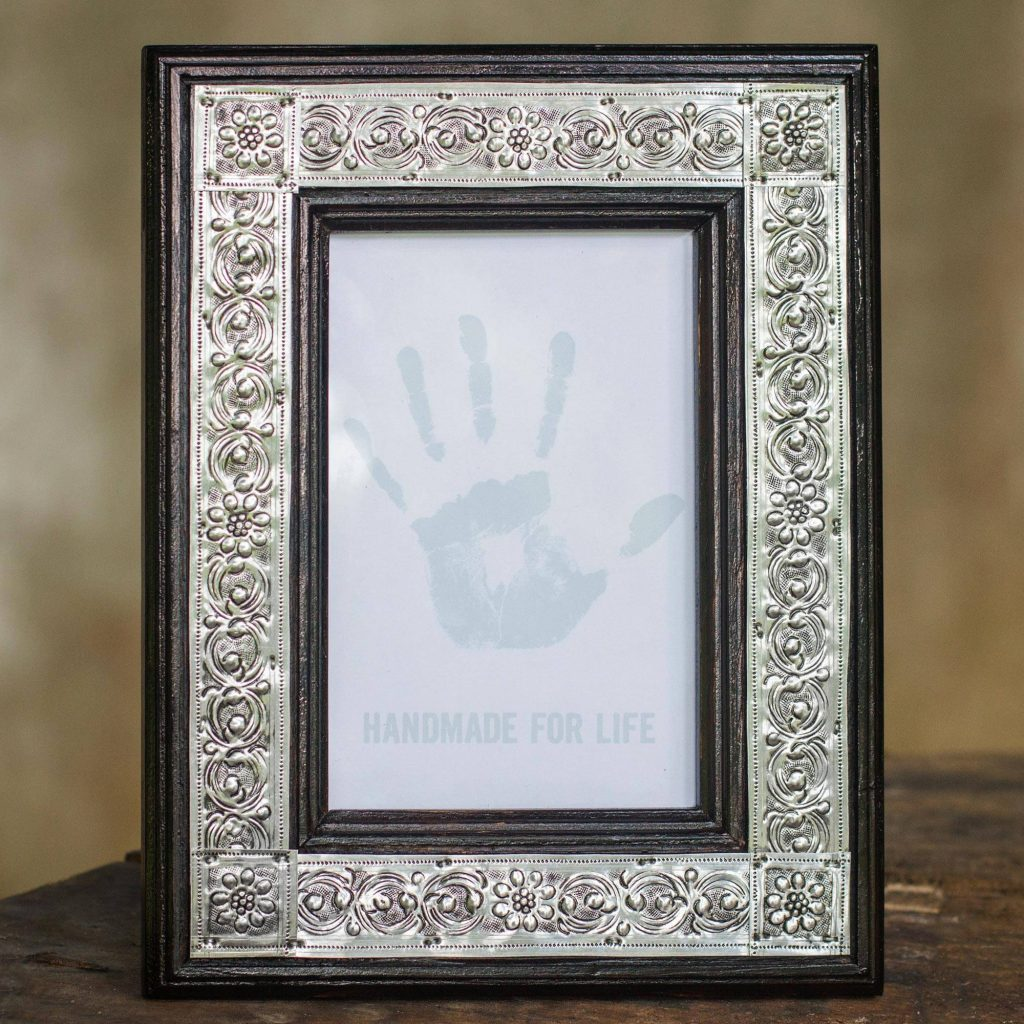 Serpentine Design Carved Wood Photo Frame, 'Grand Illusion' Packable Host and Hostess Gift Ideas