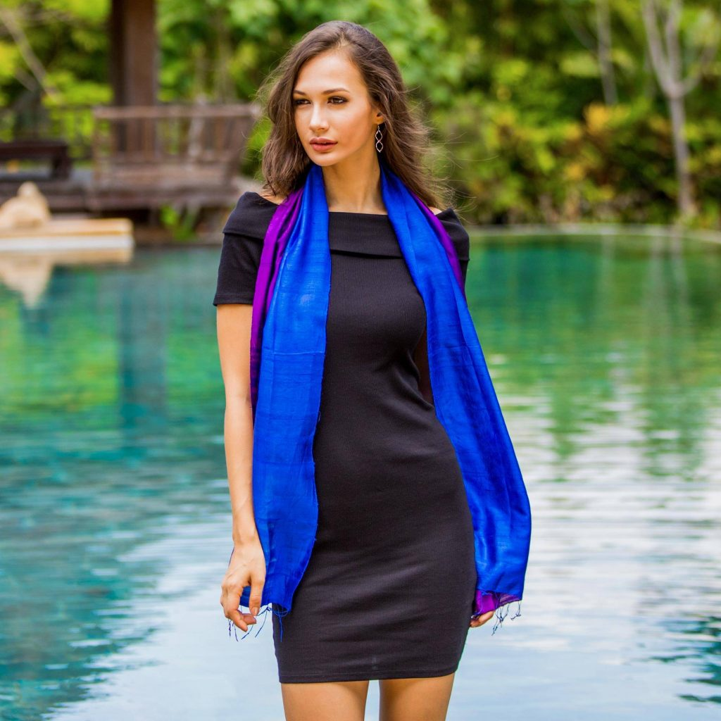 Handwoven from 100% silk by Thailand's Vinita, this scarf features rich hues of blue-violet that give way to royal blue. revamp your wardrobe