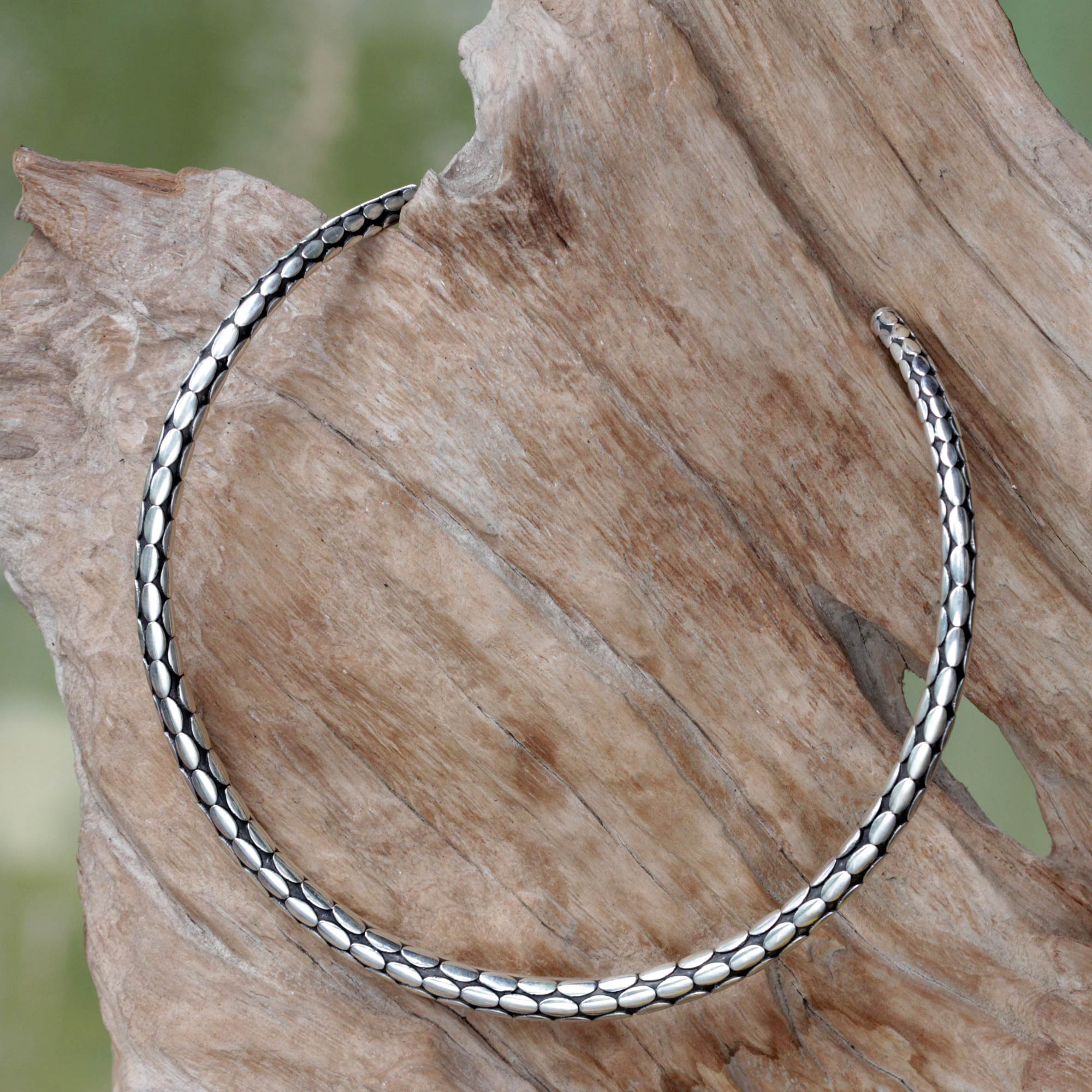 Matching Accessories 'Rice Harvest' Minimalist Sterling Silver Choker from Bali