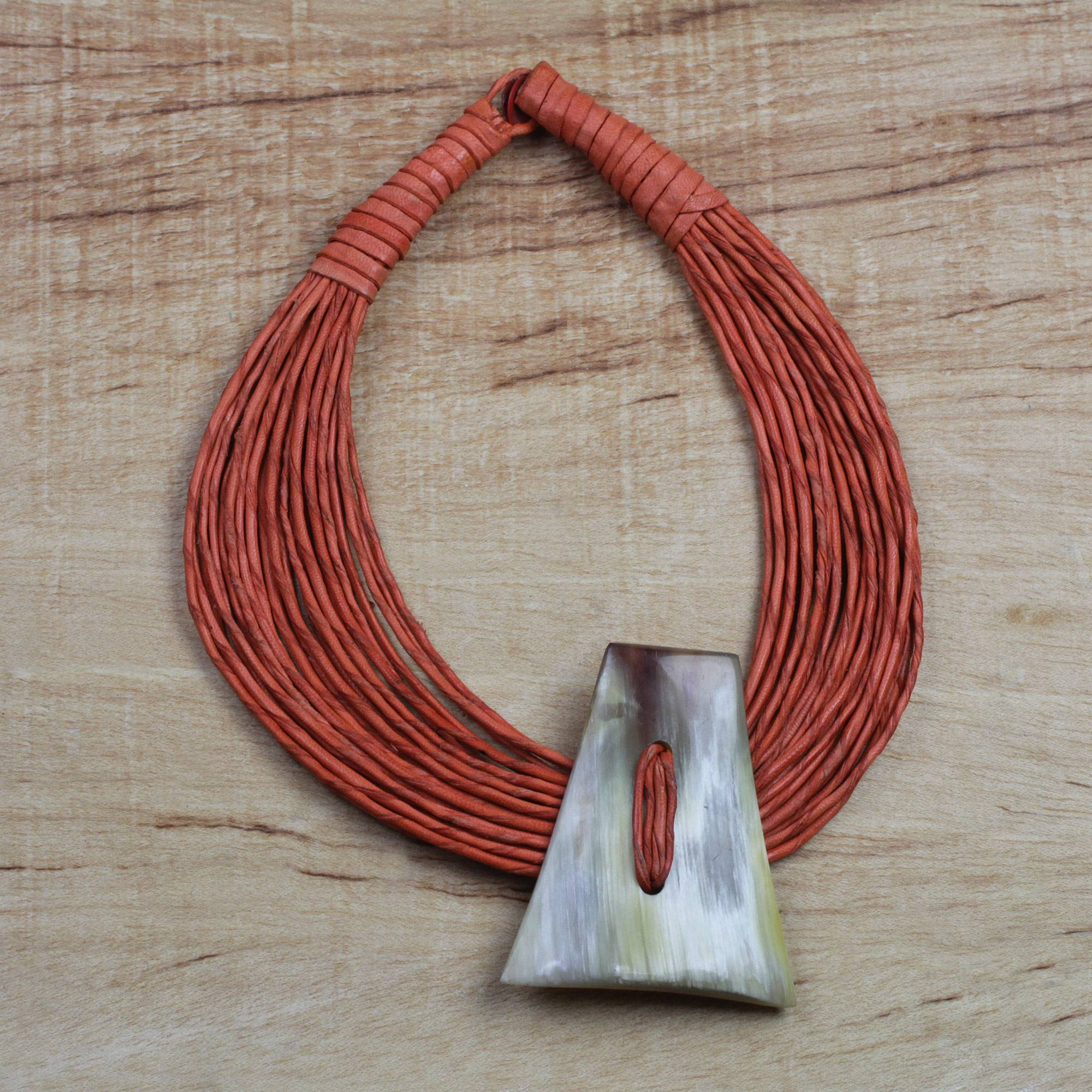 Matching Accessories 'Laami' Ghanaian Orange Leather and Bone Statement Cord Necklace
